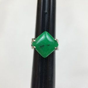 GREEN Stone Boho SILVER Tone Ring